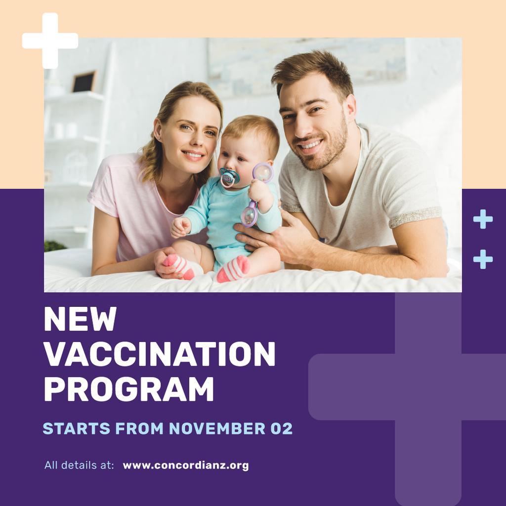 Vaccination Program Announcement Parents with Baby Instagram Post Template — Crea un design