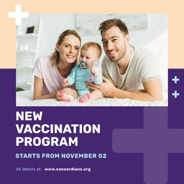 Vaccination Program Announcement Parents with Baby Instagram Post Template
