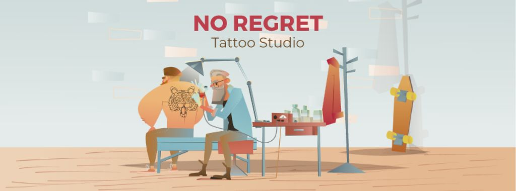 Tattoo Studio Ad with Man Getting Tiger Tattoo Facebook Video Cover — Créer un visuel