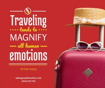 Travelling Inspiration Suitcase and Hat in Red | Facebook Post Template