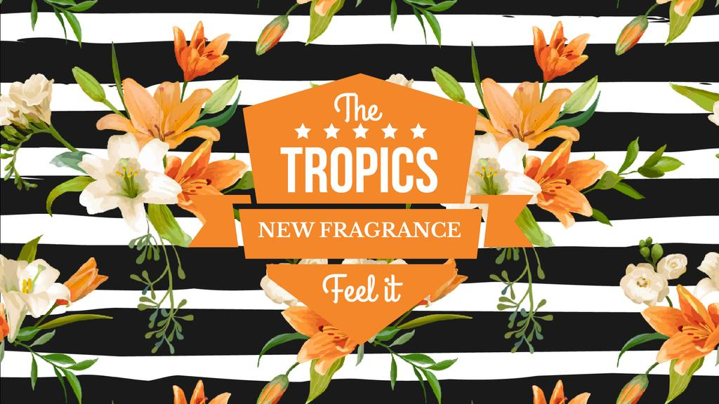 Fragrance Ad Blooming Lilies on Striped Background — Crea un design