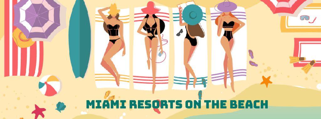 Beach Resort Theme Women Sunbathing | Facebook Video Cover Template — Створити дизайн