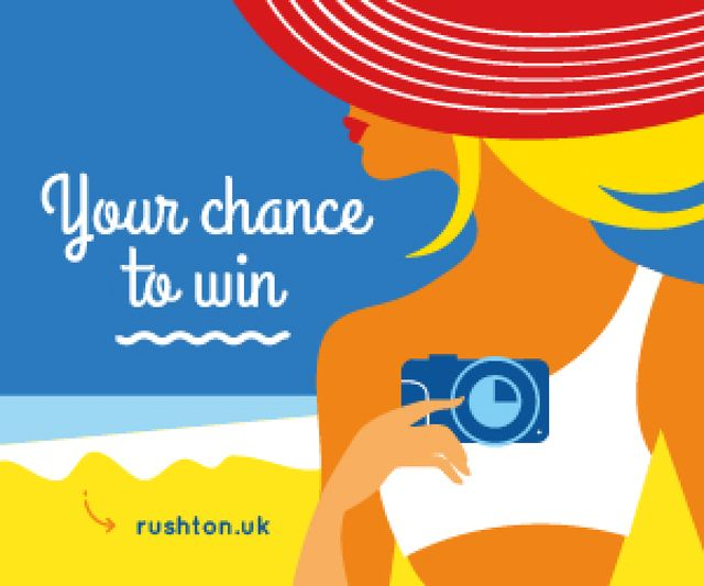 Modèle de visuel Giveaway Announcement Woman with Camera at the Beach - Medium Rectangle