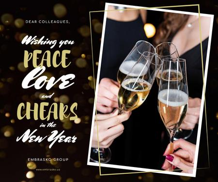New Year Greeting People Toasting with Champagne Facebook Modelo de Design