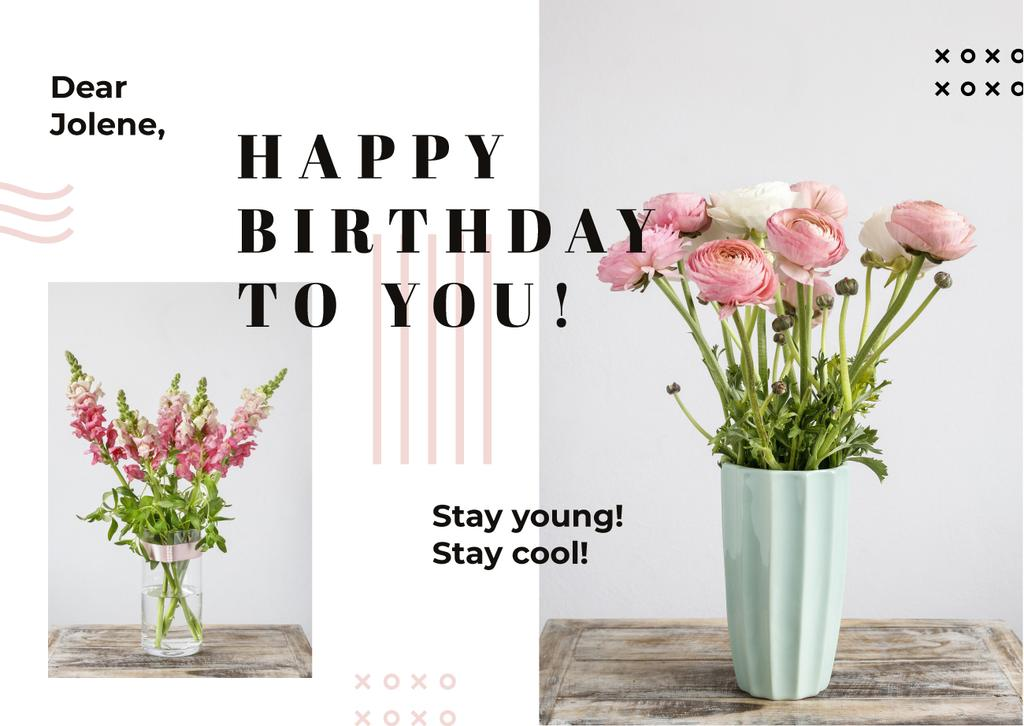 Birthday Greeting Pink Flowers in Vases | Card Template — Crear un diseño