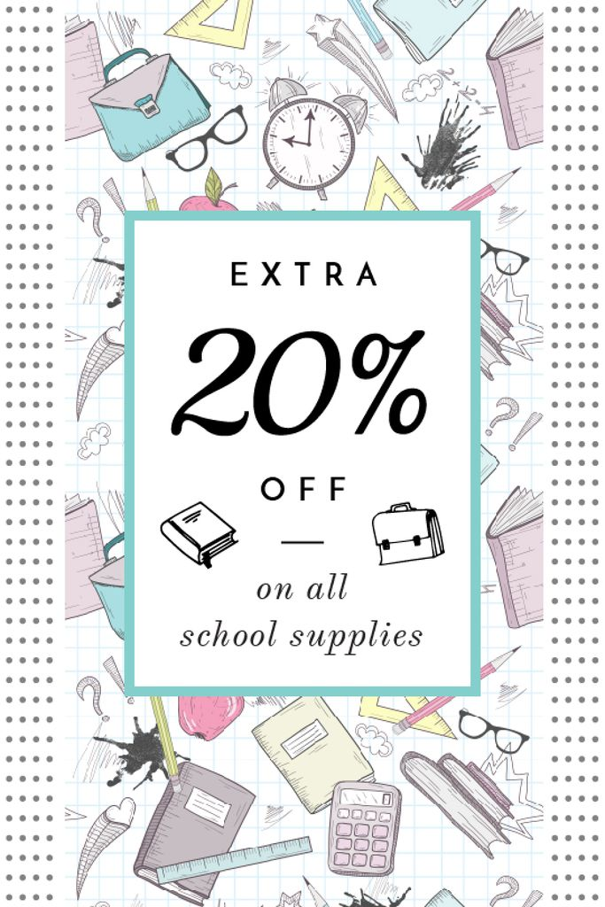 School Supplies Sale Advertisement Stationery Icons — Crea un design