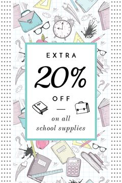 School Supplies Sale Advertisement Stationery Icons | Tumblr Graphics Template