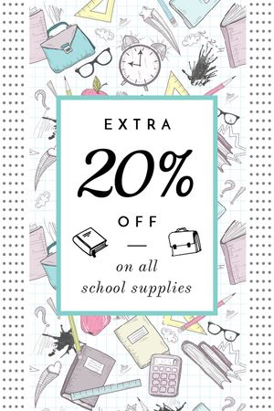 School Supplies Sale Advertisement Stationery Icons Tumblrデザインテンプレート