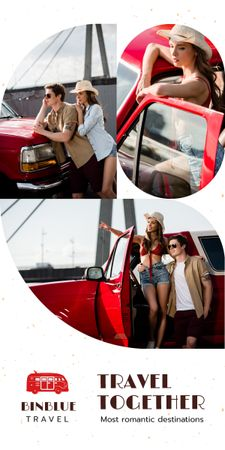 Travel Tour Promotion Couple Travelling by Car Graphic Modelo de Design