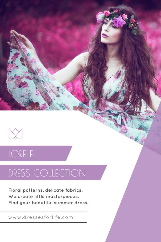 Fashion Collection Ad with Woman in Floral Dress — Maak een ontwerp