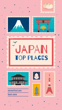 Japan travelling spots on pink Instagram Story Modelo de Design