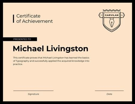 Typography Courses Achievement in pink Certificate Modelo de Design