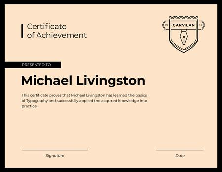 Typography Courses Achievement in pink Certificate Design Template