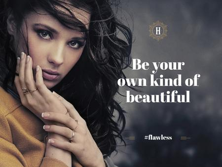 Designvorlage Beautiful young woman with inspirational quote für Presentation