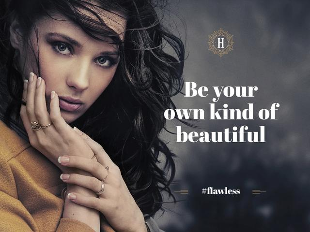 Beautiful young woman with inspirational quote Presentation – шаблон для дизайну