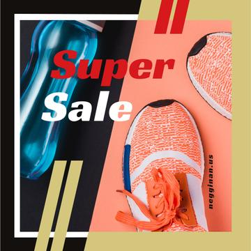 Sale with Sport shoes and water bottle