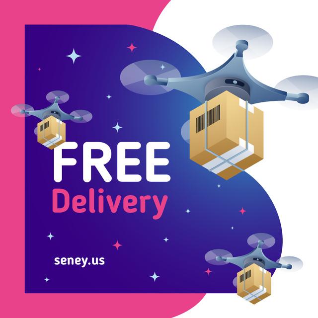 Shipping offer Drones delivering parcels Instagram AD – шаблон для дизайну