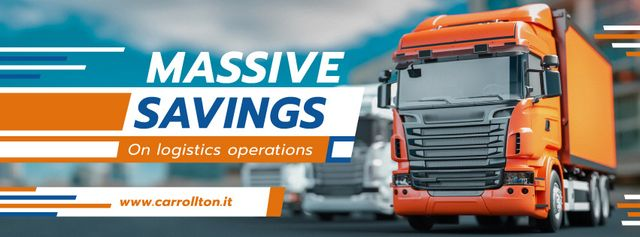 Delivery Offer with Large Trucks on Road Facebook cover Modelo de Design