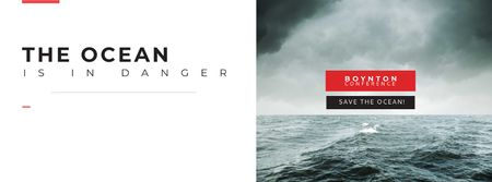 Ontwerpsjabloon van Facebook cover van Ecology Conference Invitation with Stormy Sea Waves
