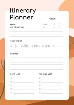 Itinerary Planner on Desert Illustration