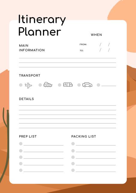 Itinerary Planner on Desert Illustration Schedule Planner Design Template