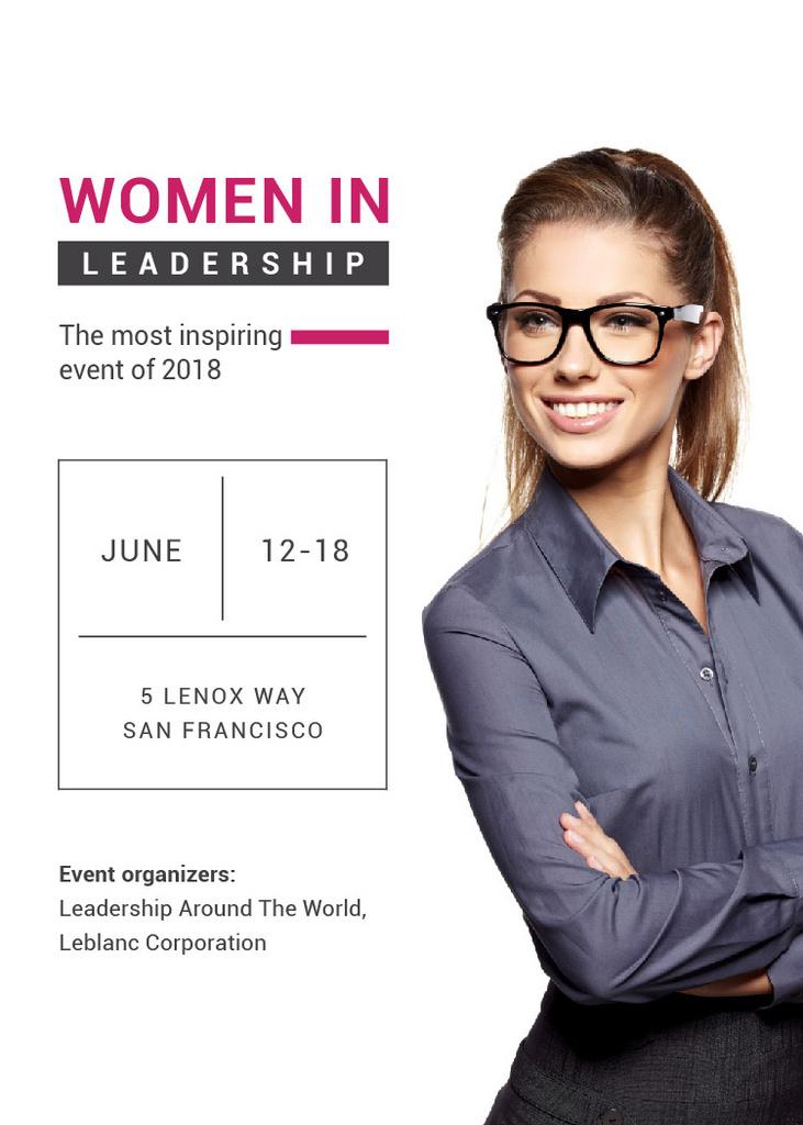 Business Event Announcement Smiling Businesswoman — Crea un design