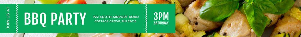 BBQ Party Invitation Grilled Chicken on Skewers Leaderboard – шаблон для дизайна