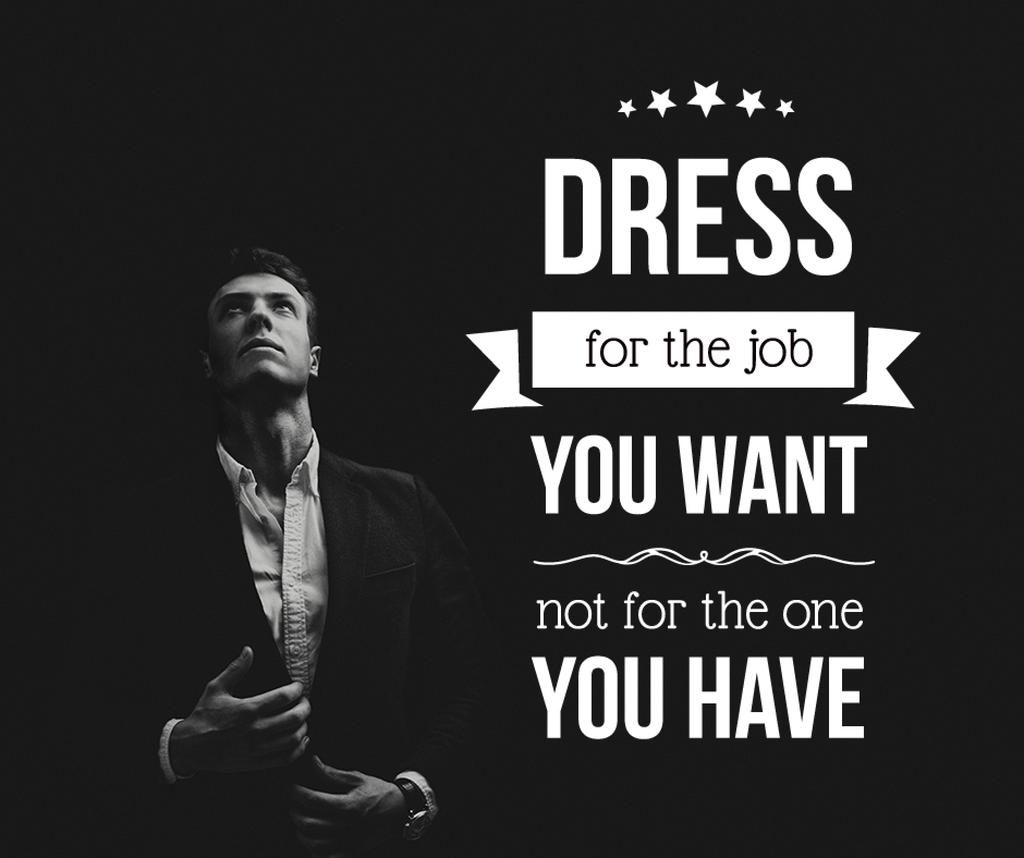 Fashion Quote Businessman Wearing Suit in Black and White | Facebook Post Template — Créer un visuel
