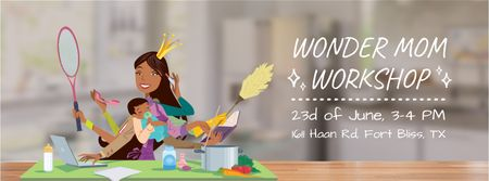 Wonder mom with baby on Mother's Day Facebook Video cover Modelo de Design