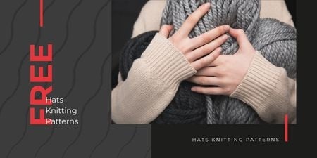 Ontwerpsjabloon van Twitter van Knitting Patterns Ad with Woman Holding Yarn Skeins