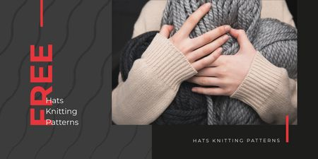 Knitting Patterns Ad with Woman Holding Yarn Skeins Twitter Design Template