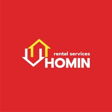 Real Estate Agency Ad Houses Icon in Red | Logo Template
