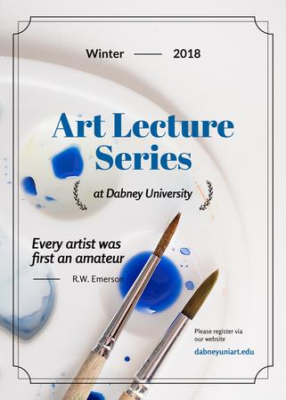 Art Lecture Series Brushes and Palette in Blue Invitation Modelo de Design