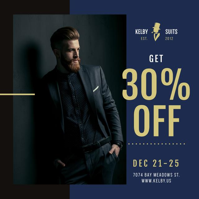 Suits Store Offer Stylish Bearded Man Instagram Design Template