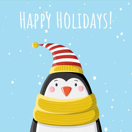 Cute winter penguin in hat Animated Postデザインテンプレート