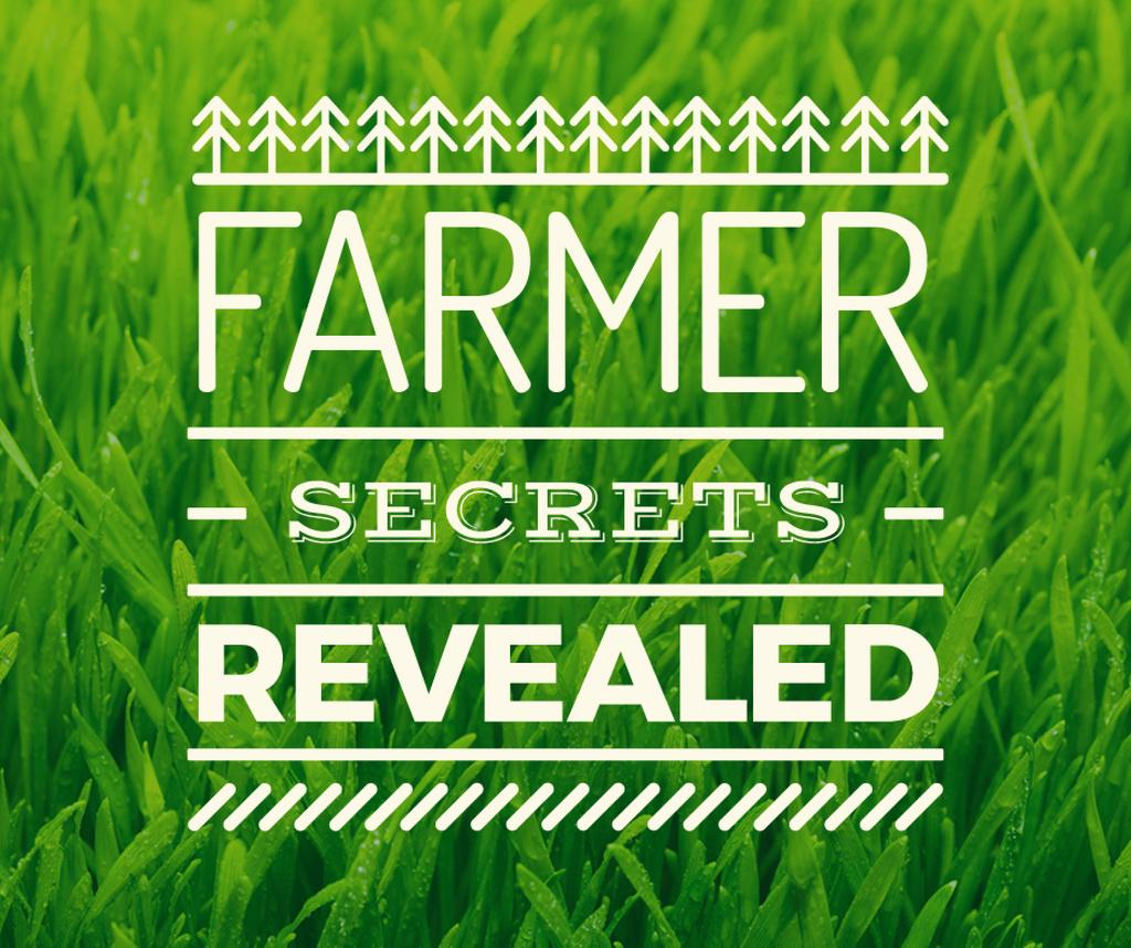 farmer secrets revealed poster on green grass background — Создать дизайн