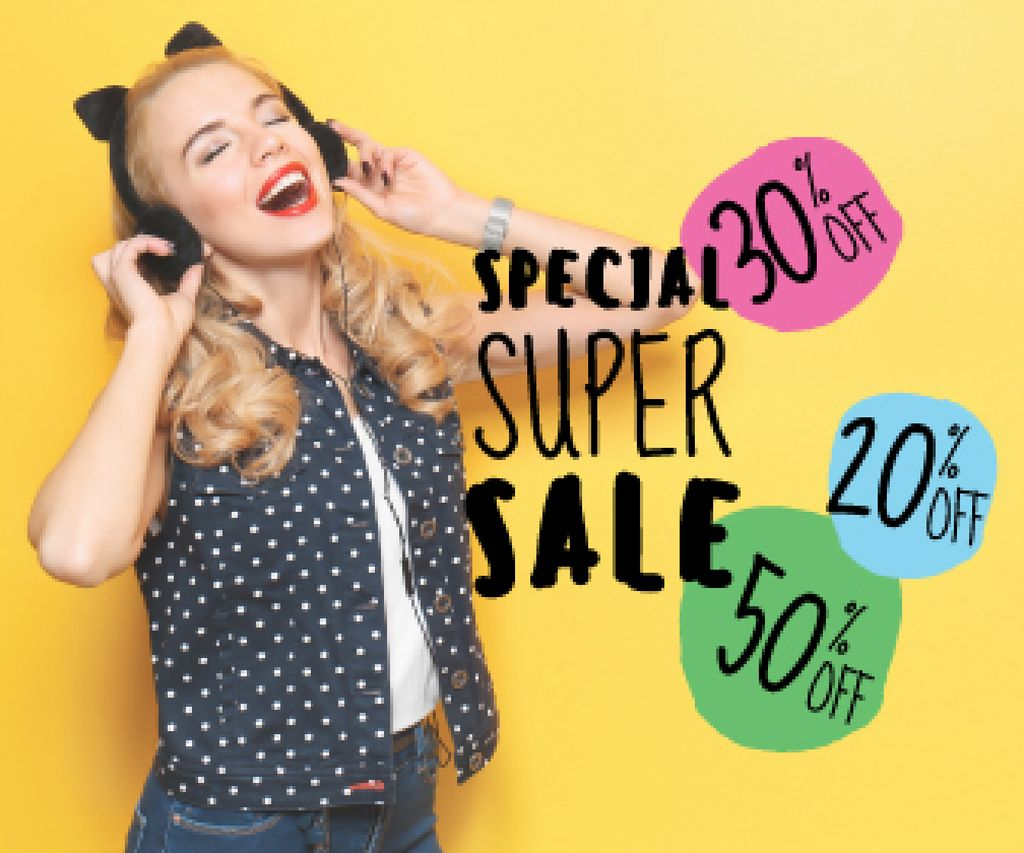special super sale yellow banner with young woman in headphones — Modelo de projeto