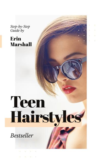 Beautiful young girl in sunglasses Book Cover – шаблон для дизайна