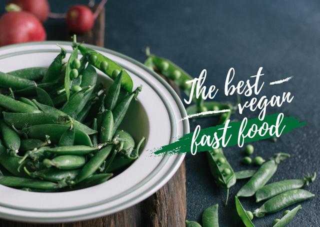 Plantilla de diseño de Vegan fast food Ad with peas Card