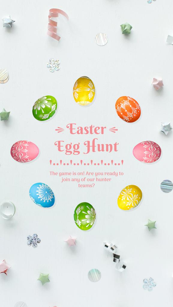 Easter Greeting Colored Eggs Frame | Vertical Video Template — Створити дизайн
