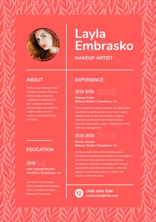 Makeup artist skills and experience Blank Resume – шаблон для дизайну