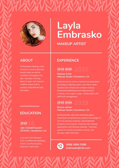 Ontwerpsjabloon van Resume van Makeup artist skills and experience Blank