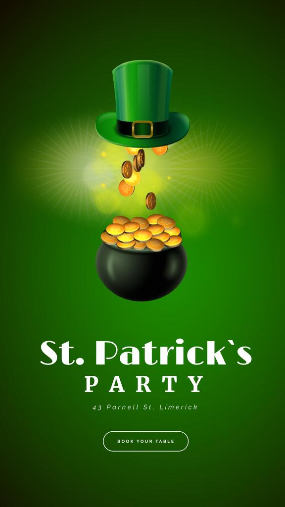 Saint Patrick's Day Celebration Hat and Gold | Vertical Video Template — Create a Design