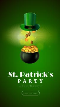 Saint Patrick's Day Celebration Hat and Gold | Vertical Video Template