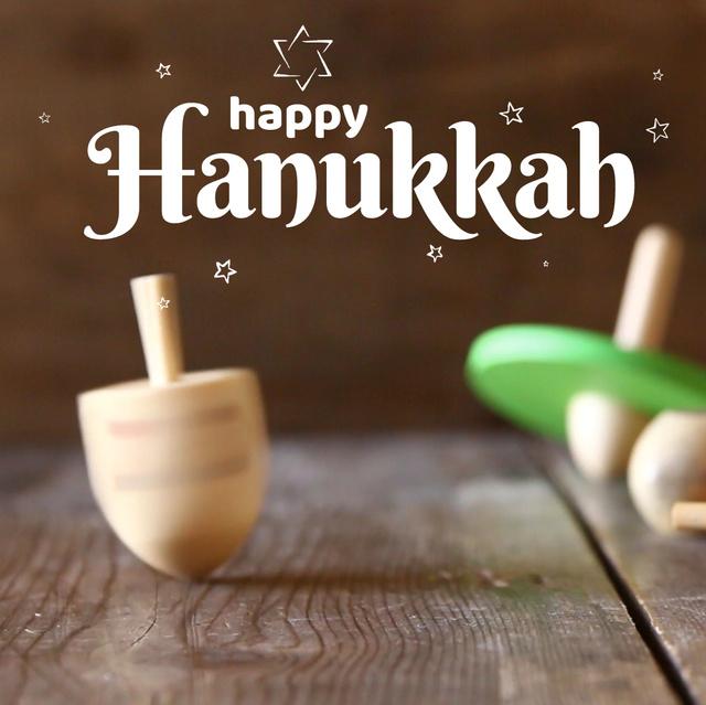 Modèle de visuel Happy Hanukkah dreidel - Animated Post