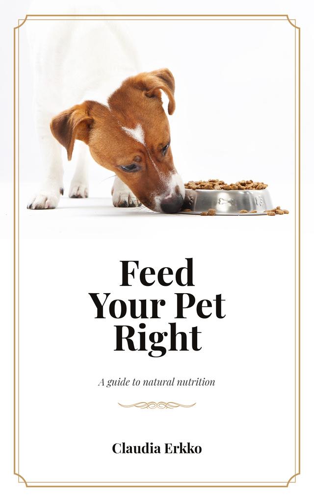 Ontwerpsjabloon van Book Cover van Jack Russell Dog Eating Its Food