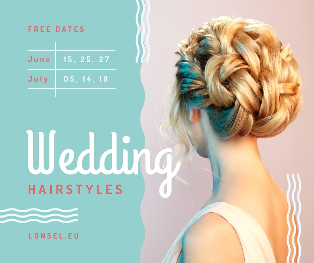 Wedding Hairstyles Offer Bride with Braided Hair | Facebook Post Template — Créer un visuel