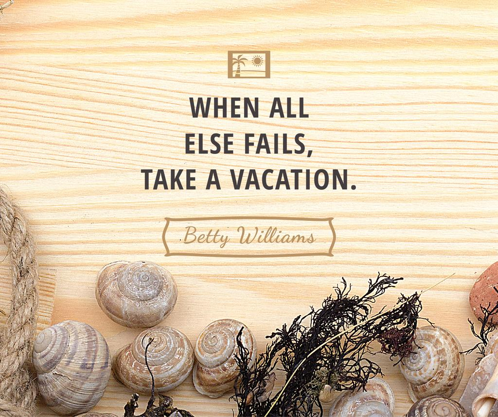 Plantilla de diseño de Travel inspiration with Shells on wooden background Facebook