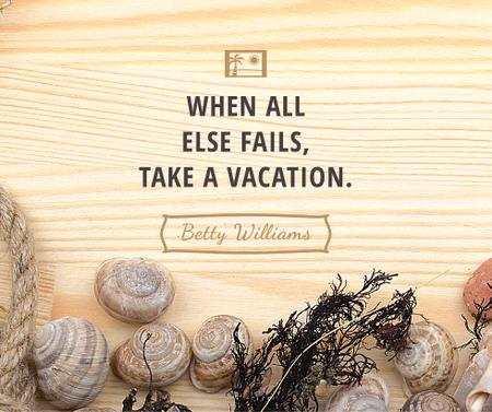 Travel inspiration with Shells on wooden background Facebook – шаблон для дизайна