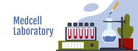 Ontwerpsjabloon van Facebook cover van Science concept with Laboratory equipment